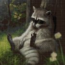 Raccoon2 cross stitch pattern in pdf DMC