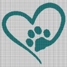 LOVE PET PAW 2 CROCHET AFGHAN PATTERN GRAPH