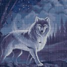 Wolf in night cross stitch pattern in pdf DMC