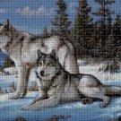 Wolves in winter cross stitch pattern in pdf DMC