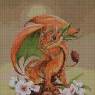 Baby dragon - orange-cross stitch pattern in pdf DMC