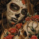 Sugar skull with roses cross stitch pattern in pdf DMC