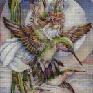Fairy and hummingbirds cross stitch pattern in pdf DMC