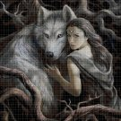 Girl and wolf cross stitch pattern in pdf DMC