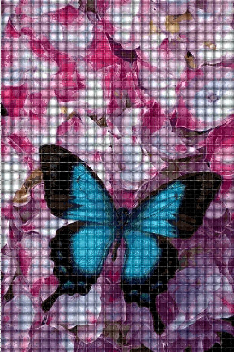Blue Butterfly in flowers cross stitch pattern in pdf DMC