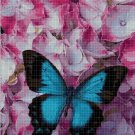 Blue Butterfly in flowers cross stitch pattern in pdf DMC