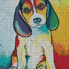 Colorful Beagle cross stitch pattern in pdf DMC