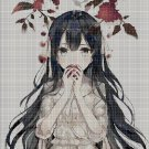 Anime girl with apple cross stitch pattern in pdf DMC