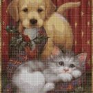 Christmas cat and dog 2 cross stitch pattern in pdf DMC