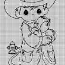Little fire man silhouette cross stitch pattern in pdf