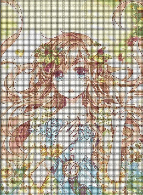 Anime girl with clock cross stitch pattern in pdf DMC