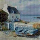 Boat on seaside cross stitch pattern in pdf DMC