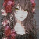 Anime girl with flowers 2 cross stitch pattern in pdf DMC