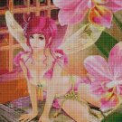 Fairy and flowers cross stitch pattern in pdf DMC