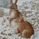 Bunnies in winter cross stitch pattern in pdf DMC
