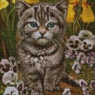 Cat among pansies cross stitch pattern in pdf DMC
