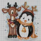Christmas penguin and reindeer cross stitch pattern in pdf DMC
