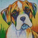 Colorful Boxer cross stitch pattern in pdf DMC