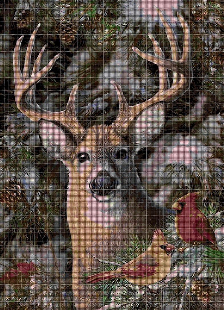 Deer and birds cross stitch pattern in pdf DMC