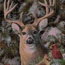 Deer and birds cross stitch pattern in pdf DMC