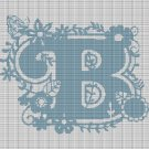 "MONOGRAM ""B"" FLOWERS CROCHET AFGHAN PATTERN GRAPH"