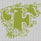 "MONOGRAM ""F"" FLOWERS CROCHET AFGHAN PATTERN GRAPH"