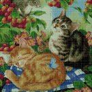 Cat piknic cross stitch pattern in pdf DMC