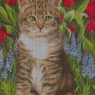 Cat with tulips cross stitch pattern in pdf DMC