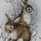 Bunnies in winter 2 cross stitch pattern in pdf DMC
