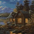 Cottage in evening cross stitch pattern in pdf DMC