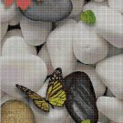 Butterfly and pebbles 2 cross stitch pattern in pdf DMC