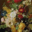 Flowers in vase cross stitch pattern in pdf DMC
