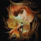 Fox spirit cross stitch pattern in pdf DMC