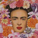 Frida with flowers cross stitch pattern in pdf DMC
