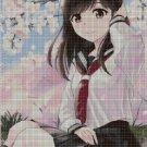 Girl in blossom cross stitch pattern in pdf DMC
