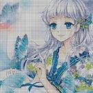 Girl with Blue Butterflies cross stitch pattern in pdf DMC