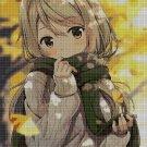 Girl with green scarf cross stitch pattern in pdf DMC