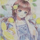 Girl with lemons cross stitch pattern in pdf DMC