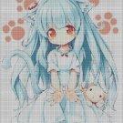 Girl with pet paw cross stitch pattern in pdf DMC