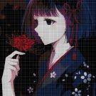 Girl with red flower cross stitch pattern in pdf DMC
