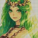 Green princess cross stitch pattern in pdf DMC