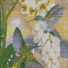 Hummingbirds with flower cross stitch pattern in pdf DMC