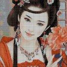 Japanese girl in red cross stitch pattern in pdf DMC