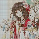 Japanese girl with ball cross stitch pattern in pdf DMC