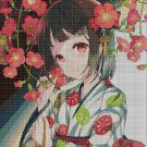 Japanese girl with flowers cross stitch pattern in pdf DMC