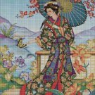 Japanese woman 3 cross stitch pattern in pdf DMC