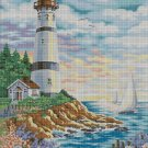 Lighthouse and the sea cross stitch pattern in pdf DMC
