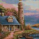 Lighthouse in evening cross stitch pattern in pdf DMC