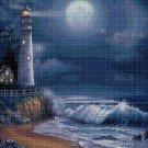 Lighthouse in night cross stitch pattern in pdf DMC