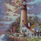 Lighthouse in storm cross stitch pattern in pdf DMC